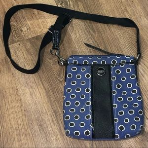 Coach Blue Mini Dot Stripe Crossbody